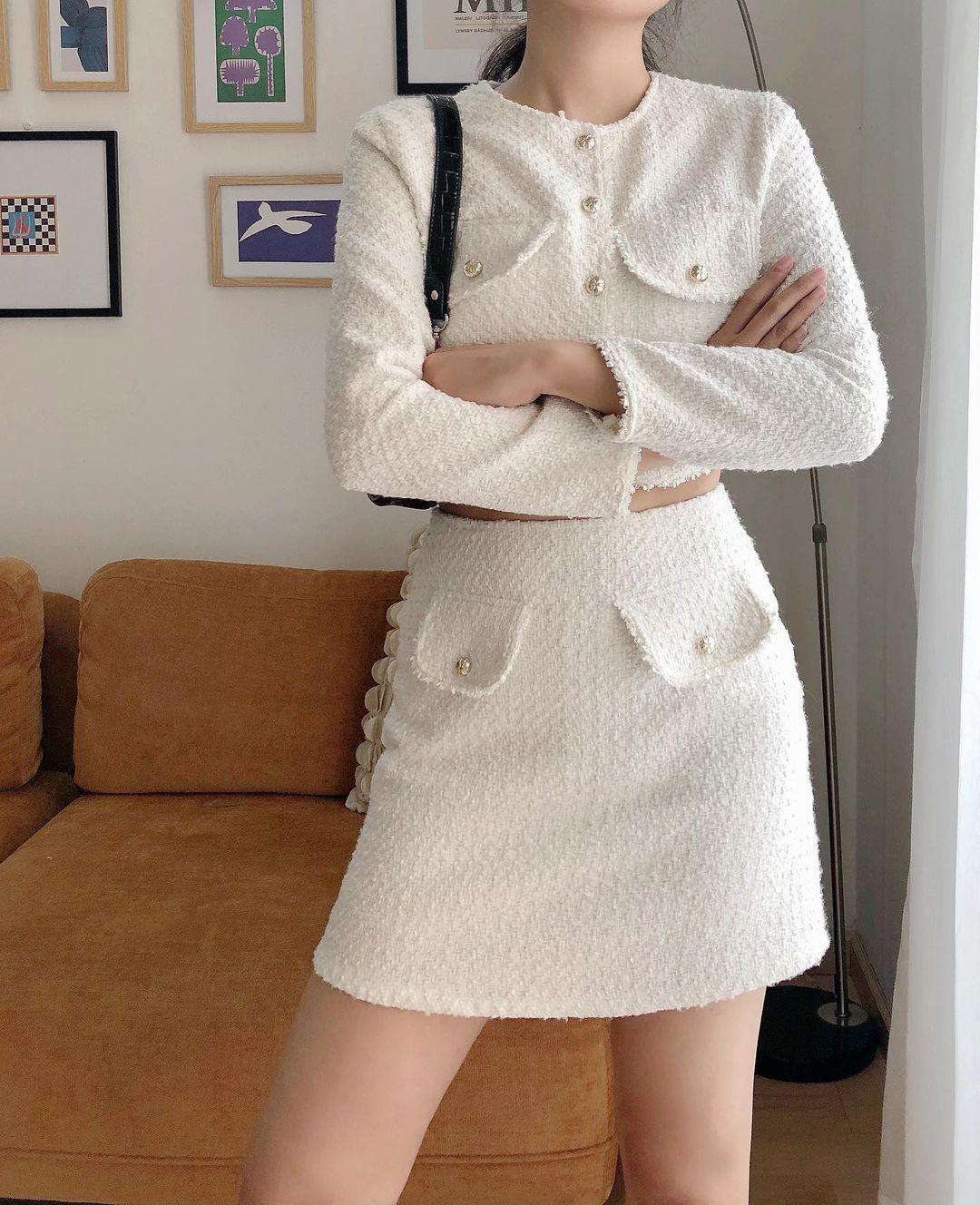 Set váy áo vải tweed đang hot rần rần tại các shop, sắm một bộ chơi Tết đi chị em - Ảnh 2.