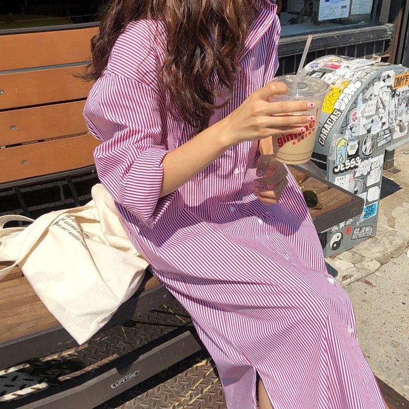 Sắm váy sơ mi rộng rãi mát mẻ mặc lên xinh như gái Hàn đi chị em, giá chỉ từ 180k thôi - Ảnh 4.