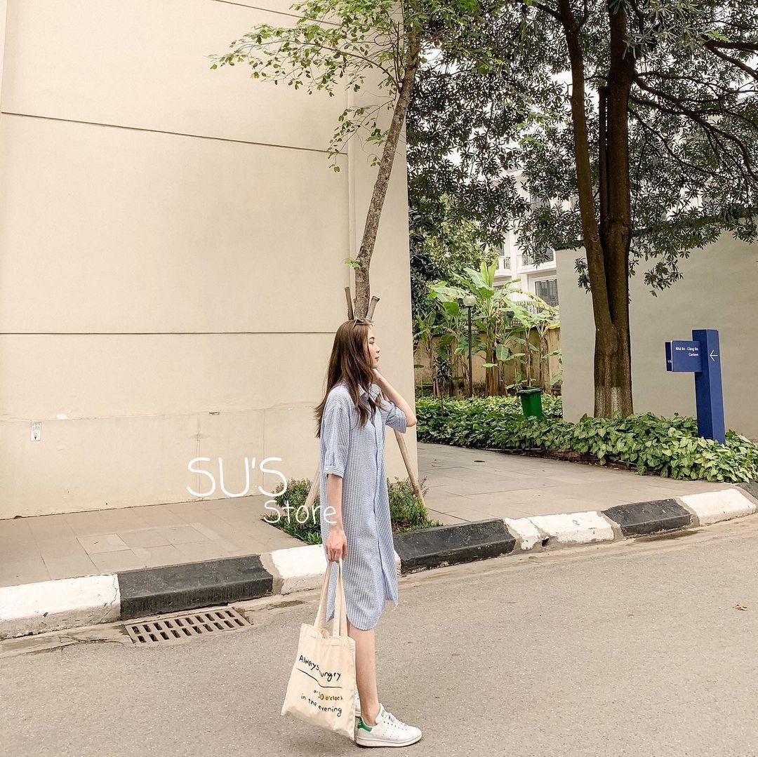 Sắm váy sơ mi rộng rãi mát mẻ mặc lên xinh như gái Hàn đi chị em, giá chỉ từ 180k thôi - Ảnh 1.
