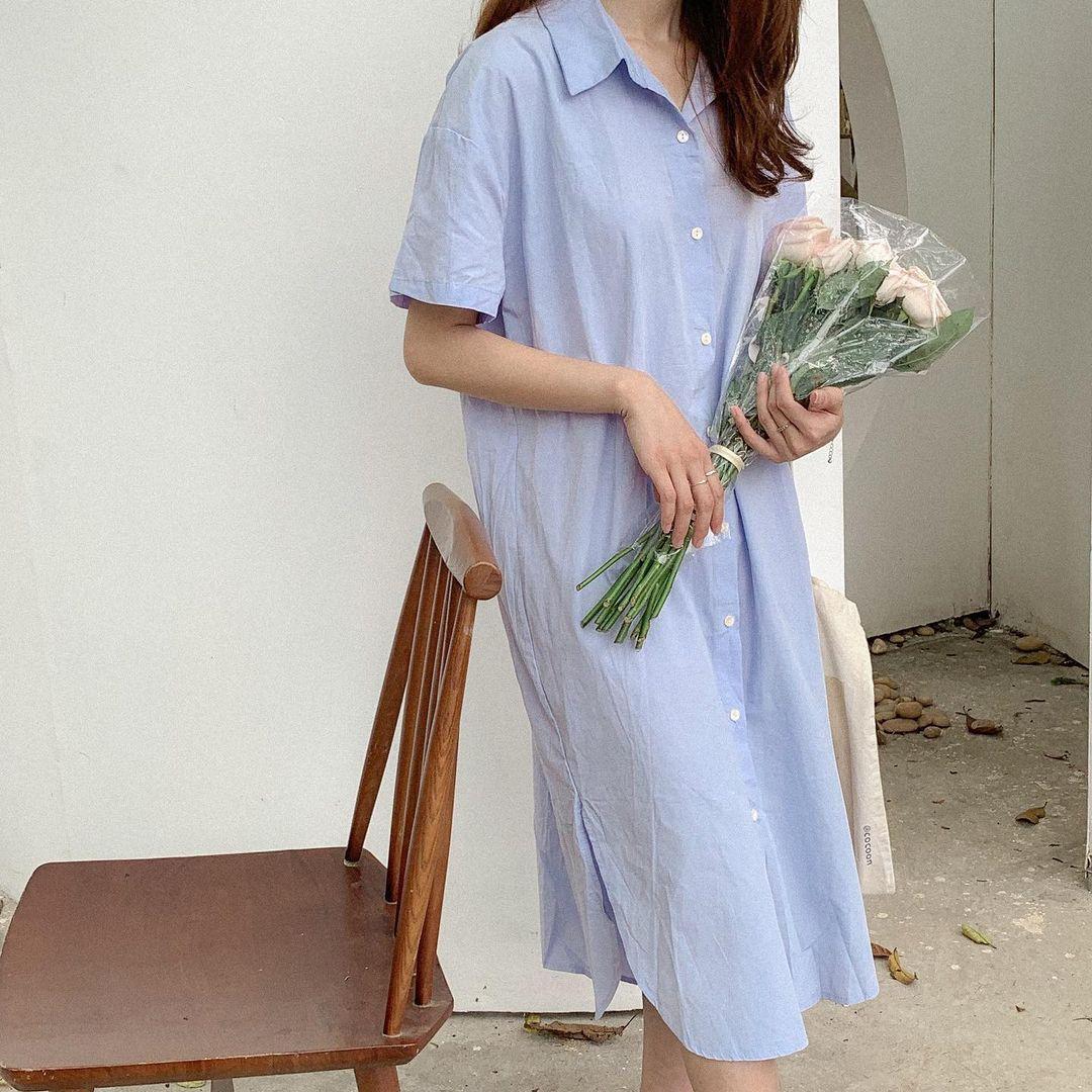 Sắm váy sơ mi rộng rãi mát mẻ mặc lên xinh như gái Hàn đi chị em, giá chỉ từ 180k thôi - Ảnh 5.